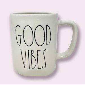 "RAE DUNN ""Good Vibes"" Coffee Mug White with Black Letters"